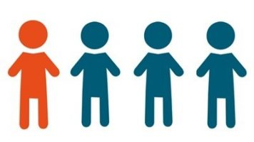 1 in 4 logo with one person orange and the rest are blue