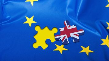 A european flag with a puzzle piece miss that is the union jack