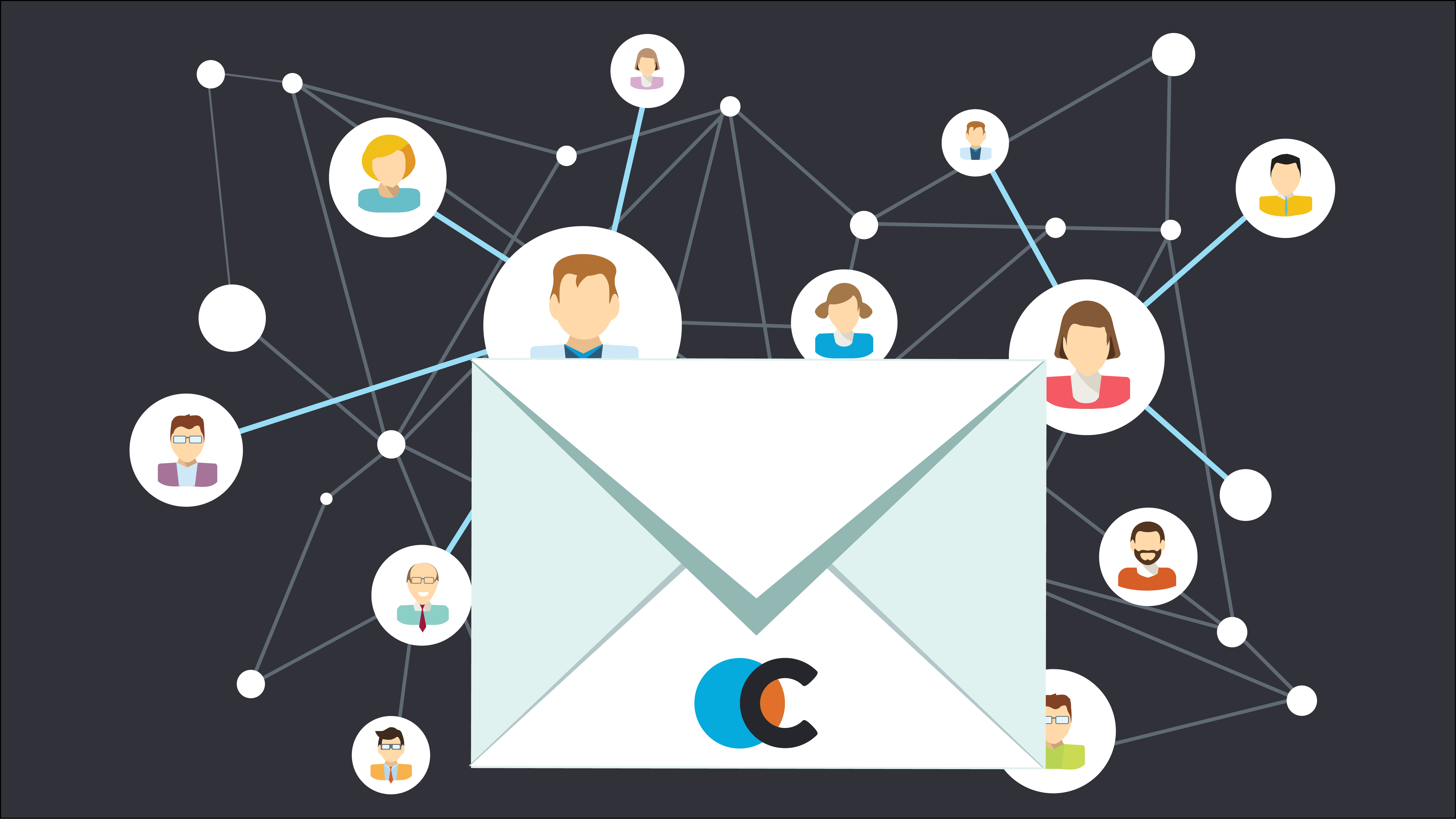 Connexica newsletter - a envelope witht the connexica logo on and people in circles connected