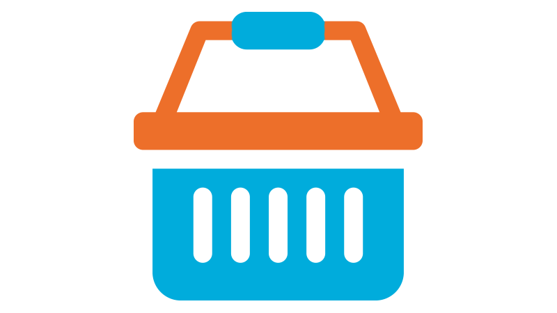 An Orange and Blue Basket