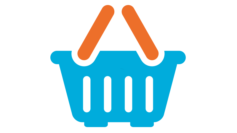 A orange and blue shopping basket icon