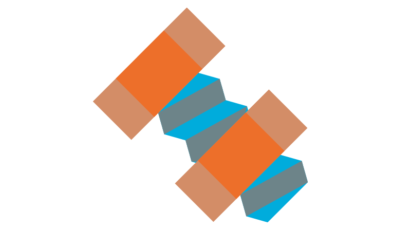 A orange a blue nut and bolt