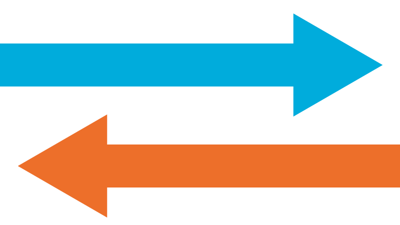 A blue arrow pointing to the right and a orange arrow pointing to the left