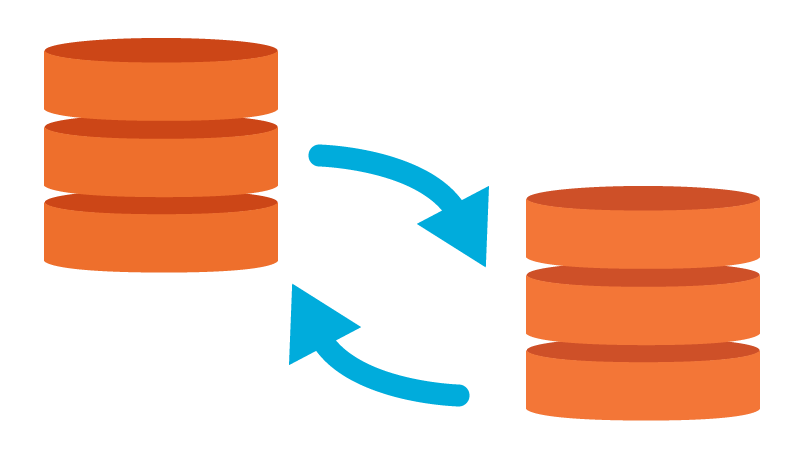 two data siloes with arrows pointing at each other