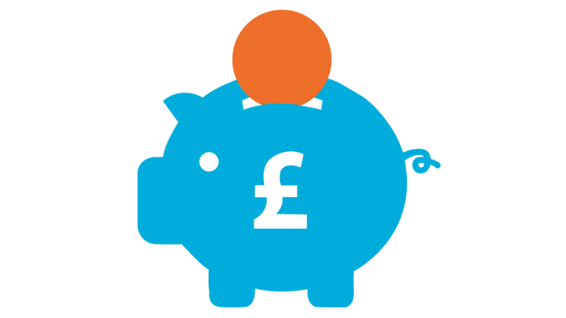 A blue piggy bank with an orange coin