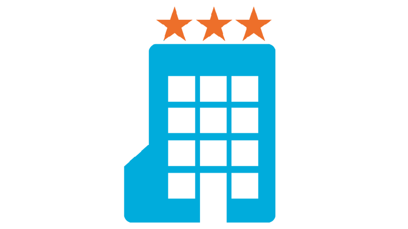 a blue hotel with three orange stars above
