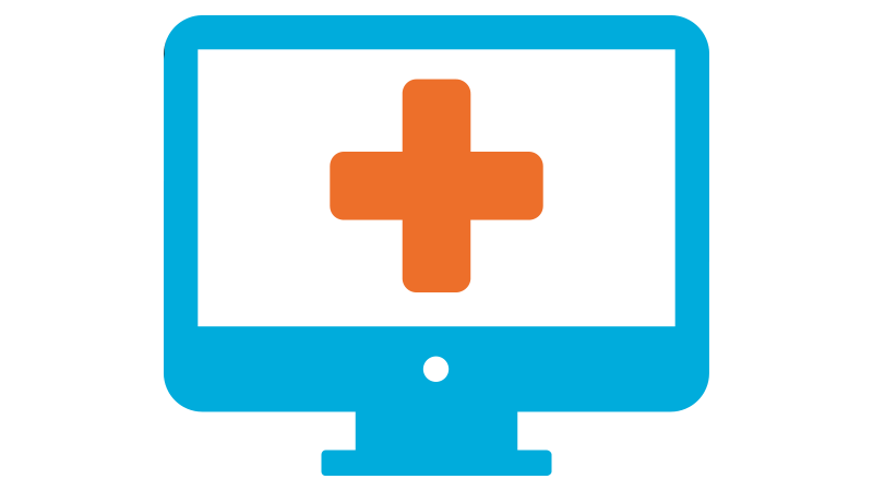 A Computer with a heathcare cross on screen