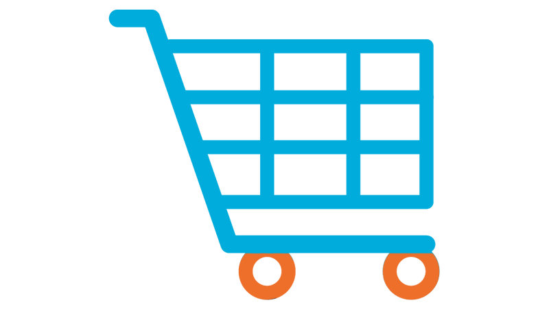 A blue shopping cart with orange wheels