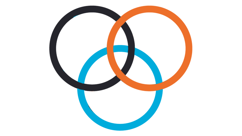 A orange, blue and black Venn diagram