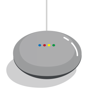 A illustration of a google home mini