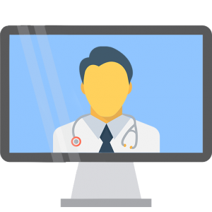 A doctor on a computer screen