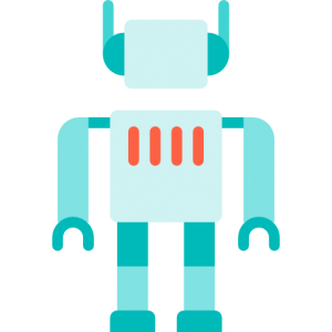 A blue and red robot