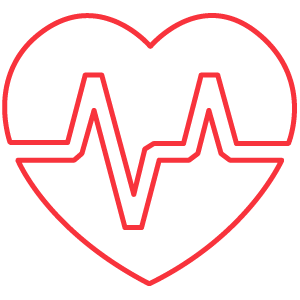 A heart with a heart beat rate line through icon