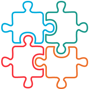 4 jigsaw puzzles linking together