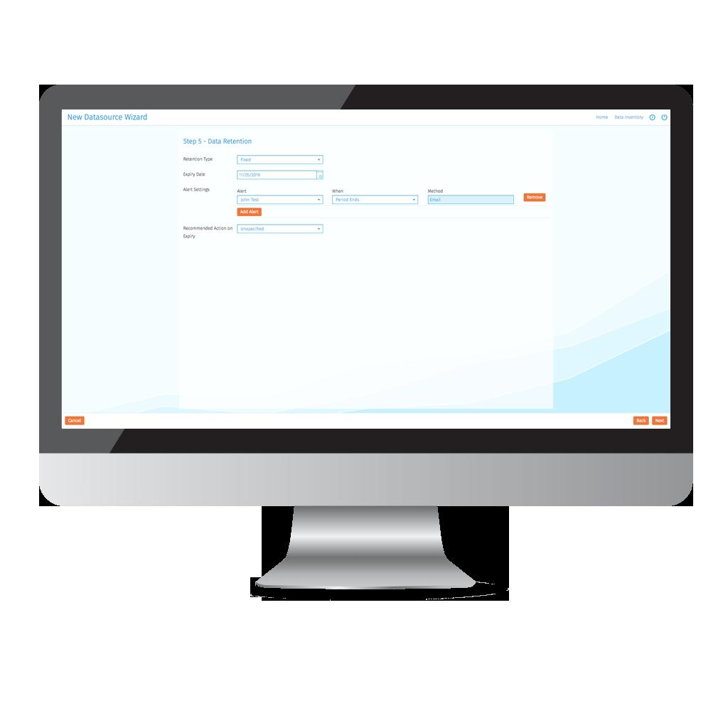 Data Retention Screenshot for GDPR Data Discovery