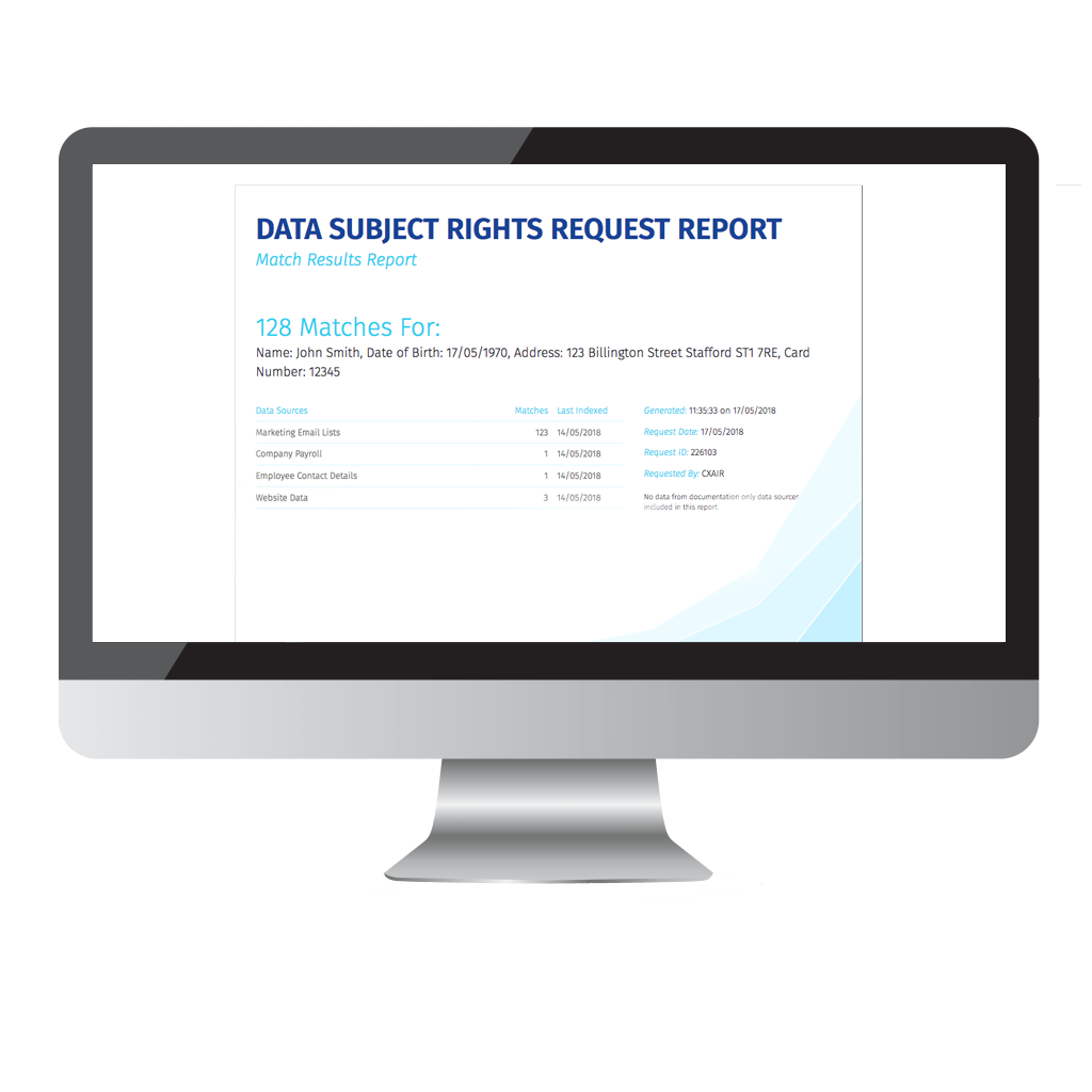 Report Outputs screenshot for GDPR Data Discovery