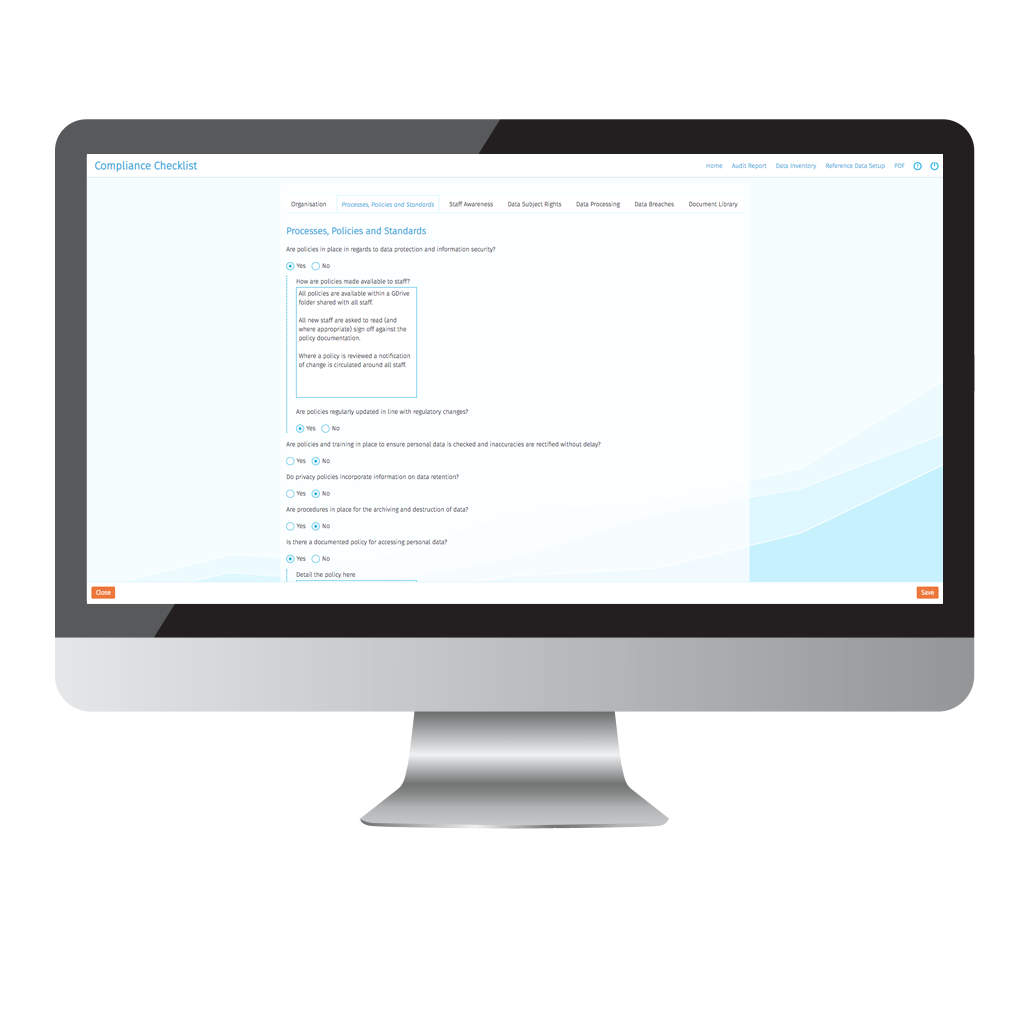 GDPR readiness Checklist Screenshot for GDPR Data Discovery